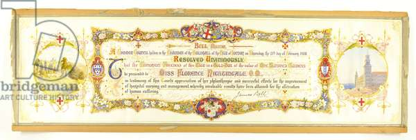 Honorary 'Freedom of the City of London', awarded to Miss Florence Nightingale, 13th February 1908 (colour litho) (see 321957)
