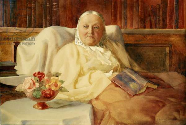 Florence Nightingale sitting up in bed, c.1907 (w/c)