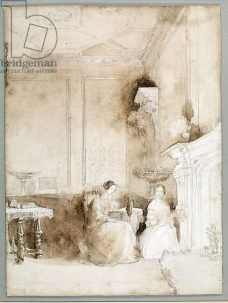 Florence Nightingale and Marianne Nicholson in the Drawing Room at Embley, c.1830 (pencil & wash on paper)