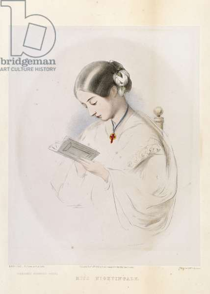 Florence Nightingale, engraved by R.J. Lane, pub. in 1854 (colour litho)