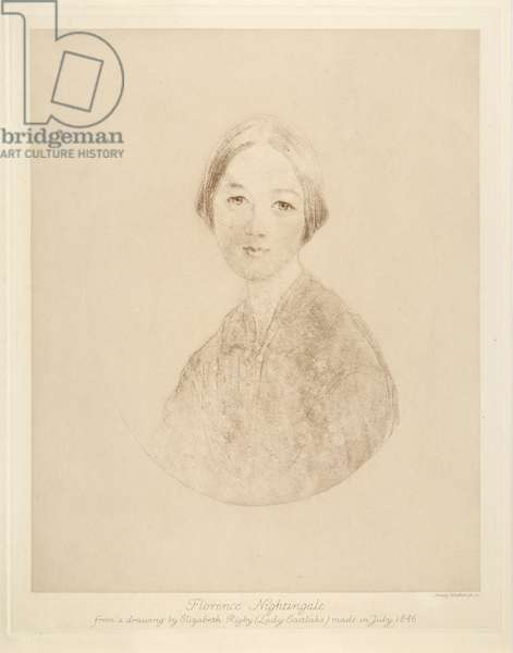 Florence Nightingale, engraved by Emery Walker, 1846 (litho)