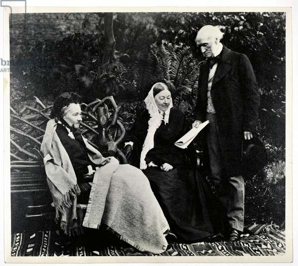 Florence Nightingale, Parthenope, Lady Verney and Sir Harry Verney at Claydon House (b/w photo)
