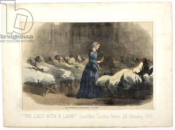 Miss Nightingale in the hospital at Scutari, from 'The Illustrated London News', 24th February 1855 (colour litho)