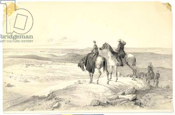 Florence Nightingale and Mr Bracebridge on Cathcart's Hill overlooking Sebastopol on 8th May 1855 (litho)
