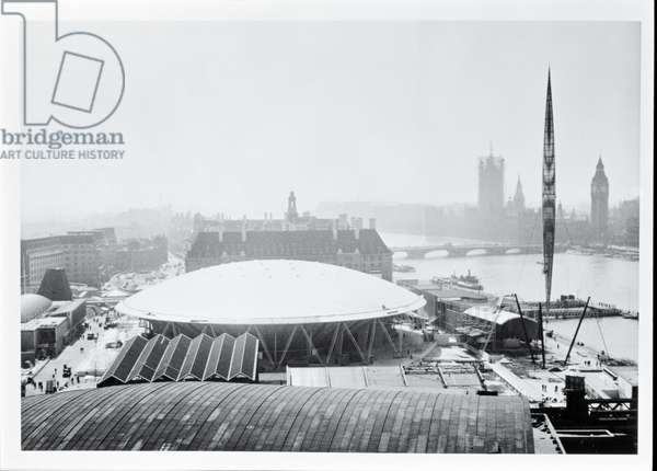 View of the Dome of Discovery built for the Festival of Britain, opened 4 May 1951 (b/w photo)