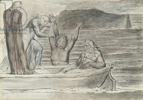Dante and Virgil in the Skiff of Phlegyas are hailed by Filippo Argenti, illustration to the 'Divine Comedy' by Dante Alighieri, 1824-27 (pen & ink with w/c over pencil and chalk on paper)
