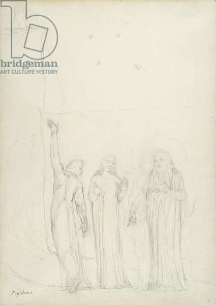 Dante, Virgil and Cato, illustration to the 'Divine Comedy' by Dante Alighieri, 1824-27 (pencil with ink & w/c on paper)