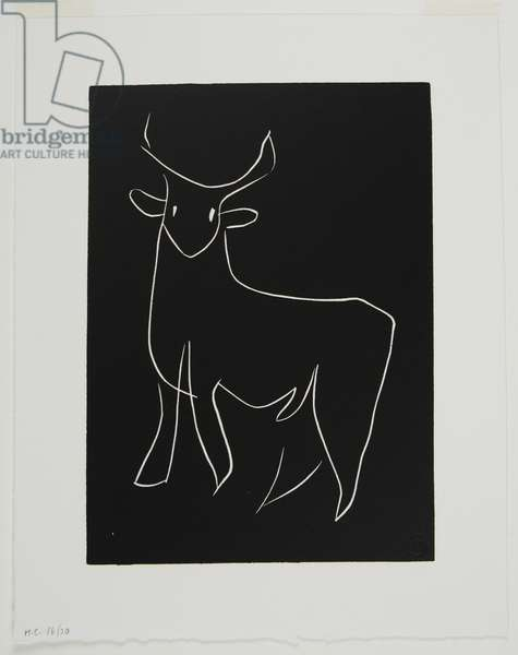 The Young Bull, 1944 (linocut)