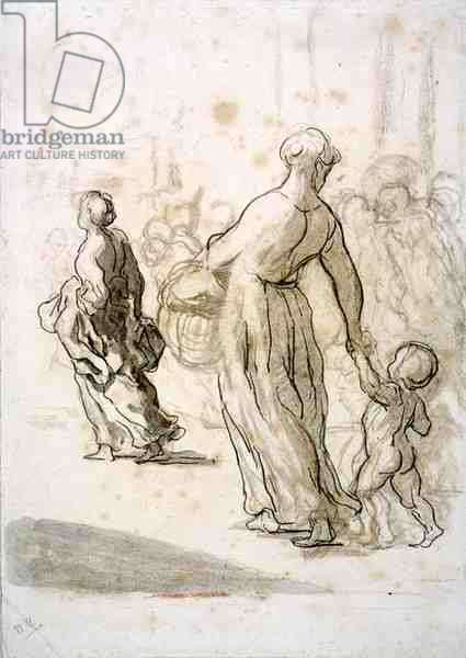 Two Women and a Child, c.1848-50 (chalk, charcoal & gouache on antique laid paper)