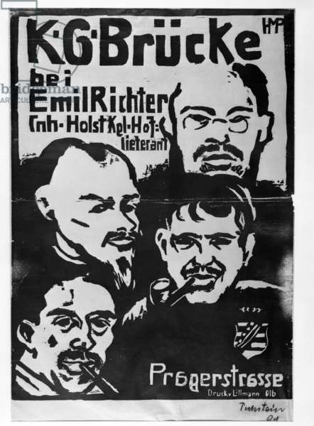 Poster for Brücke Exhibition at the Emil Richter Gallery, 1909 (woodcut)
