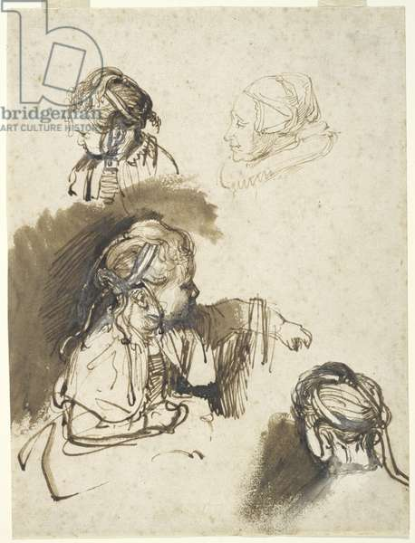 Three Studies of a Child and One of an Old Woman (pen & ink with w/c on paper)