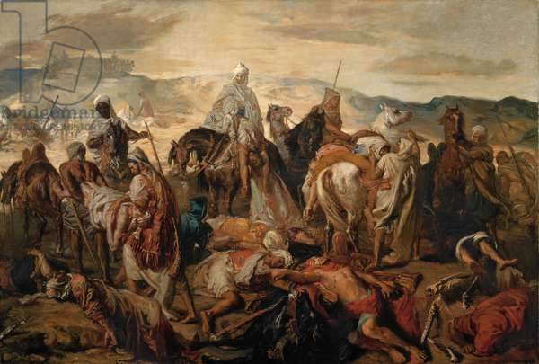 Arab Horsemen Carrying Away their Dead, 1850 (oil on canvas)