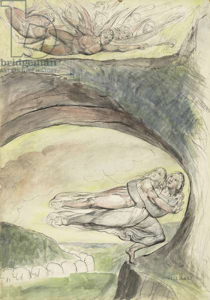 Virgil rescues Dante from the evil demons, illustration to the 'Divine Comedy' by Dante Alighieri, 1824-27 (pen & ink with w/c over pencil and chalk on paper)