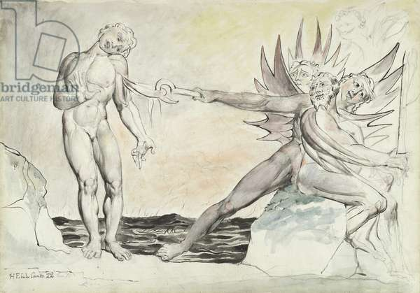 The Demons Tormenting Ciampolo the Barrator, illustration to the 'Divine Comedy' by Dante Alighieri, 1824-27 (pen & ink with w/c over pencil and chalk on paper)