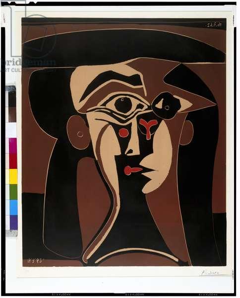 Jacqueline in a Black Hat, 1962 (linocut)