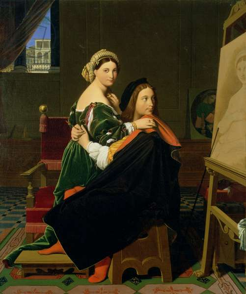Raphael and the Fornarina, 1814 (oil on canvas)