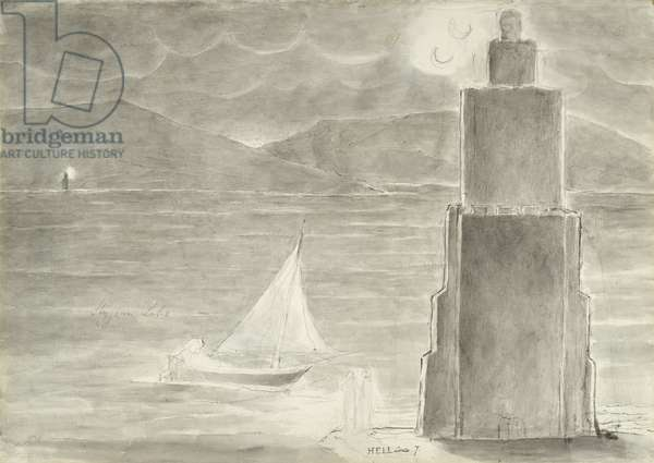 Dante and Virgil on the Edge of the Stygian Pool, illustration to the 'Divine Comedy' by Dante Alighieri, 1824-27 (pen & ink with w/c, wash and chalk on paper)