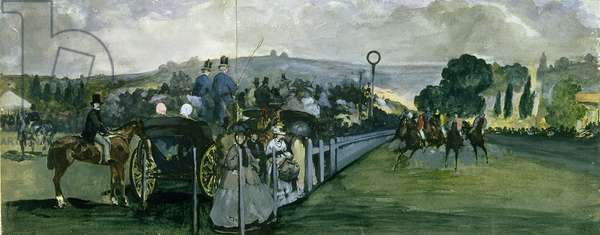 Race Course at Longchamps, 1864 (w/c and gouache over graphite on paper)
