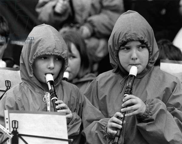 Children playing recorders 1997