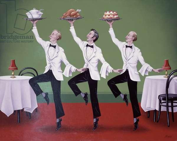 Three Waiters Dancing (oil on board)