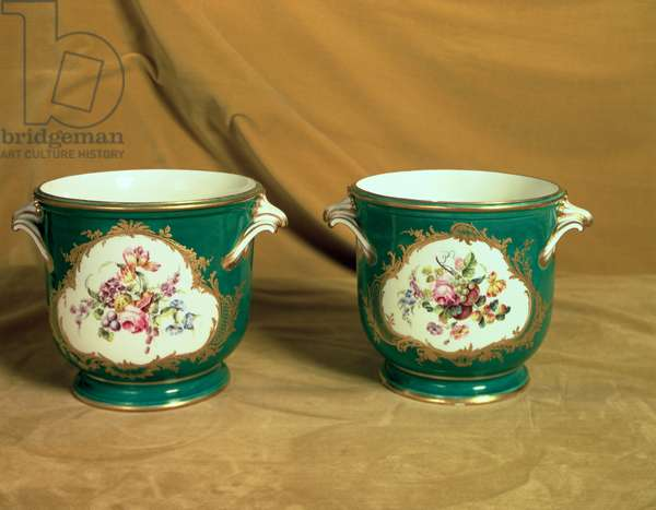 Pair of Sevres ice coolers, from the Frederick V Service, 1758 (soft-paste porcelain)