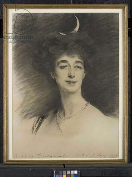 Ethel Anne Priscilla, wife of William Henry, 1st Baron Desborough, 1909 (charcoal on paper)