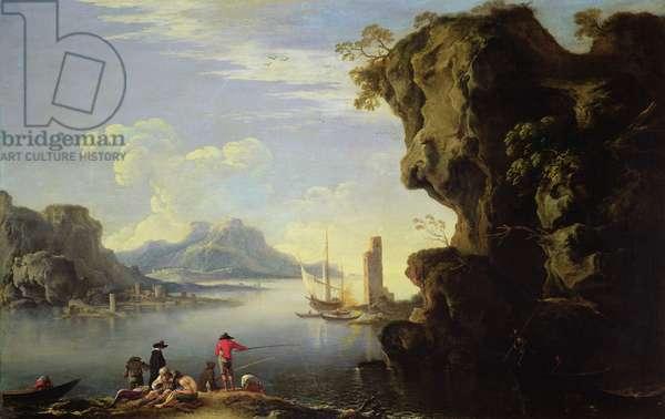 Coastal Scene with Fishermen (oil on canvas)