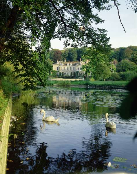 View from across the Long Pond, Firle Place, Sussex (photo)
