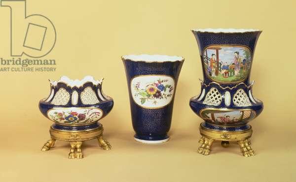 The Sevres Firle Vases, one dismantled, 1763 (soft-paste porcelain)