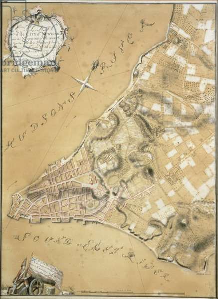 Early survey of the City of New York and its environs to Greenwich, 1766 (pen & ink on buff paper)