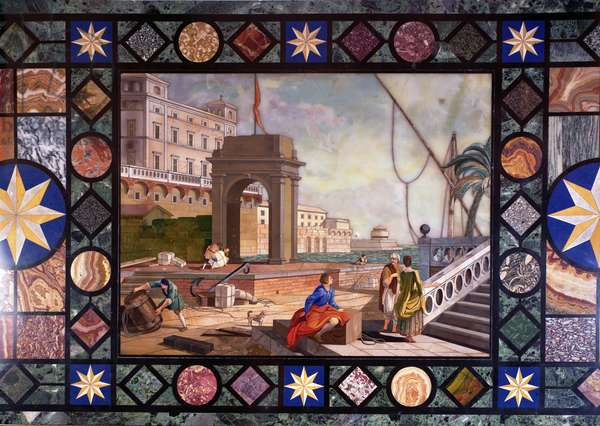Detail of a table top depicting the port of Livorno, after a design by Antonio Ciocci (fl.1722-92) (pietra dure)