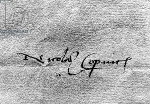Original signature of Nicolaus Copernicus, (19.02.1473-24.05.1543), astronomer, mathematician, priest, discoverer of heliocentric cosmology theory.