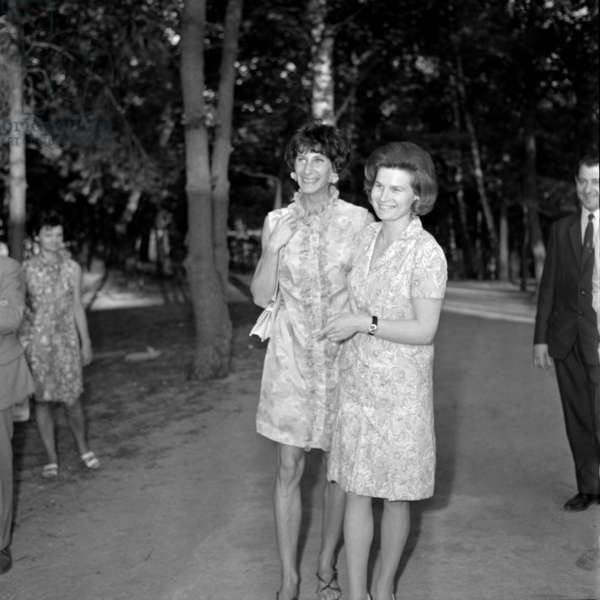 Warsaw, 15.07.1969. USSR women delegation visit. Irena Szewinska (left), (born 24.05.1946). Head of the Polish Federation of Athletics and member of the International Olympic committee. Former Polish-Jewish sprinter who was one of the world's leading athletes for almost 20 years, in multiple events. Winner of seven Olympic game medals, three of them gold. She broke six world records and is the only athlete (male or female) to have held a world record in the 100m, 200m and the 400m events.