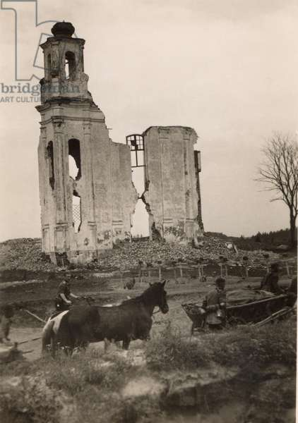 Poland, 09.1939. German soldiers passing destroyed church.