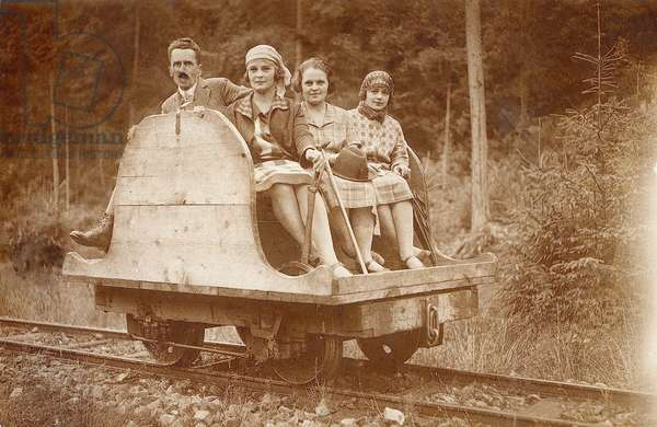 Mikuliczyn, August 1927. Taking a ride on a draisine.