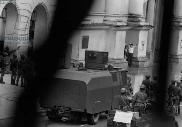 Warsaw 31.08.1982. Saint Anne church on Krakowskie Przedmiescie street- riots on the anniversary of the uprising of 'Solidarity'. (All photos were taken from 1st Floor of Dom Literatow).