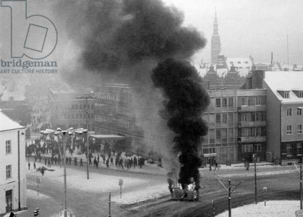 Gdansk December 1981. Martial Law in Poland. Riots on Hucisko round-about.