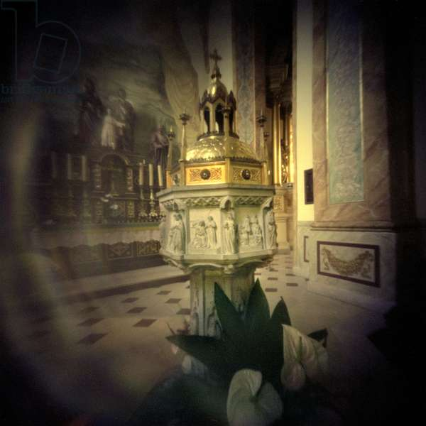 Wadowice, town in Souther Poland, 50km from Cracow, the birthplace of pope John Paul II. Since Pope's death the font used for Karol Wojtyla's baptism in Wadowice basilica attracts pilgrims from all over the country. Picture made with a pinhole camera (camera obscura) Lesser Poland Province, November 2005