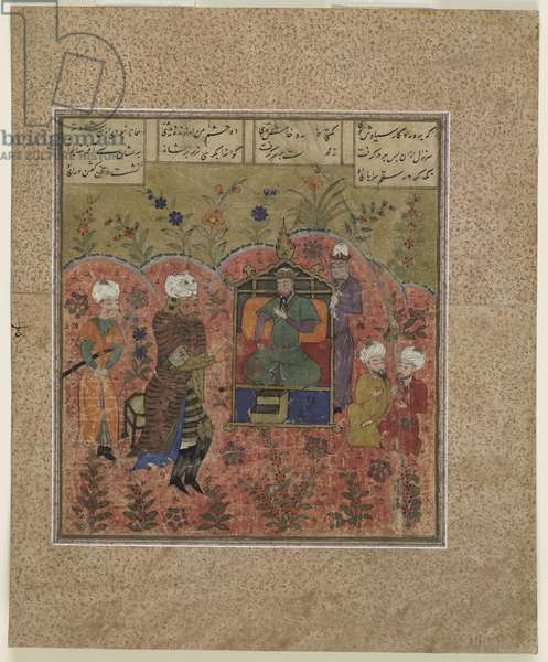 Folio from a Shahnama (Book of Kings) by Firdawsi (d.1020); Rustam before Kay Ka'us (opaque watercolour, ink and gold on paper)