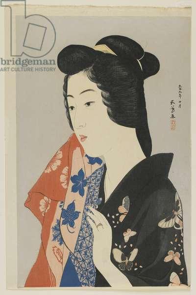Woman Holding a Towel, Taisho era, October 1920 (colour woodblock print)