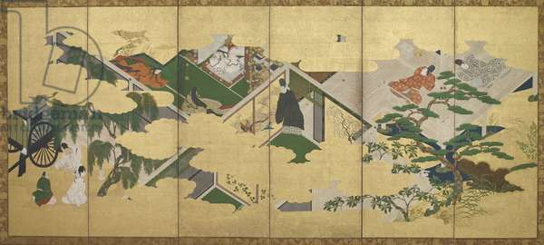 The Tale of Genji, chapter 2: Prince Genji's visit to Utsusemi, Edo period (ink, colour and gold on paper)