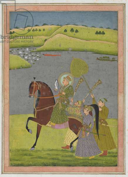 Equestrian portrait of Muhammad Shah from the Impey Album, detached manuscript folio, c.1730 (opaque watercolour and gold on paper)