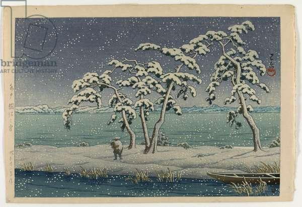 Snow at Hinuma, Mito, 1947 (colour woodblock print)