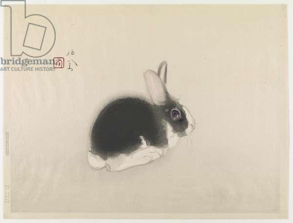 Rabbit (colour woodblock print)