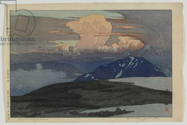 Goshikibara, from the series, Twelve Scenes in the Japan Alps, Taisho era, 1926 (colour woodblock print)