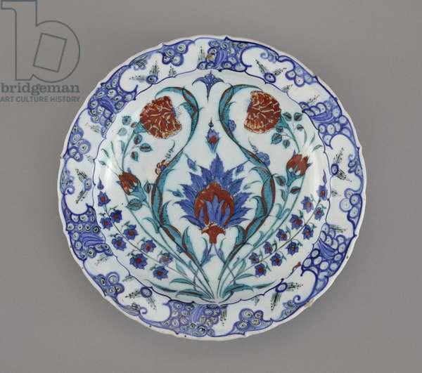 Dish, Iznik, 1570-75 (stone-paste body painted under glaze)