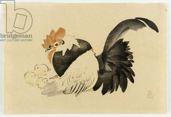 Rooster, Hen, and Chicks, Meiji era, 1870-79 (colour woodblock print)