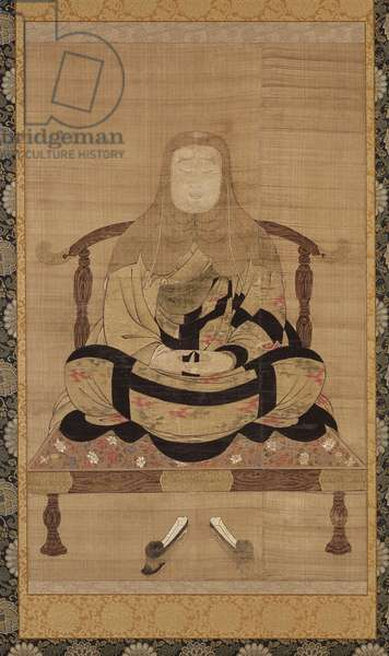 Portrait of Tendai Daishi, Nanbokucho period (ink, colour and gold on silk)