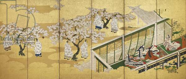 The Tale of Genji, chapter 34; Kashiwagi catches sight of the Third Princess, Edo period (ink, colour and gold on paper)