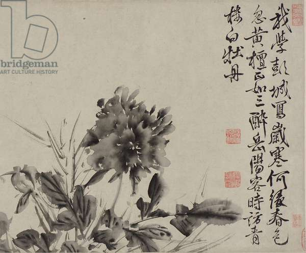 Twelve flowers and poems, Ming dynasty (ink on paper)